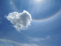 Heart with a rainbow ring around the sun...