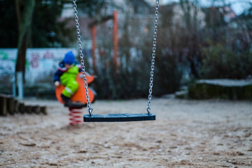 empty swing at a play park