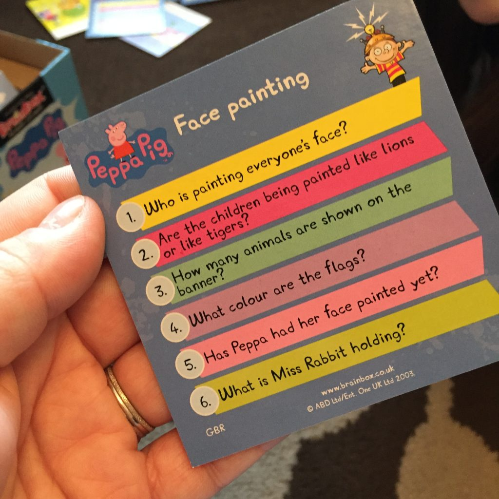 question card from Peppa Pig game card
