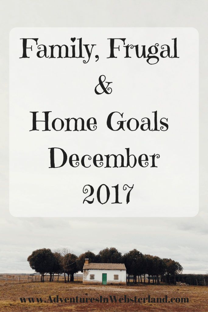 Family, Frugal & Home Goals For December 2017