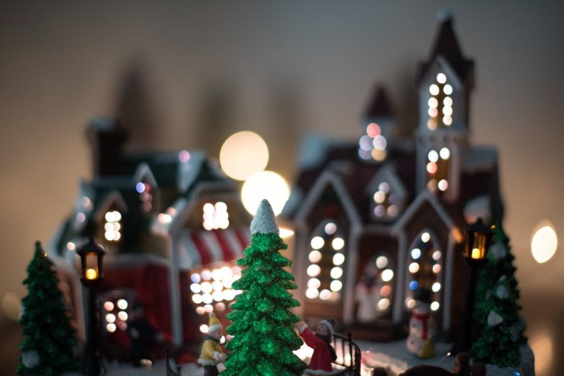 cute Christmas village scene ornament