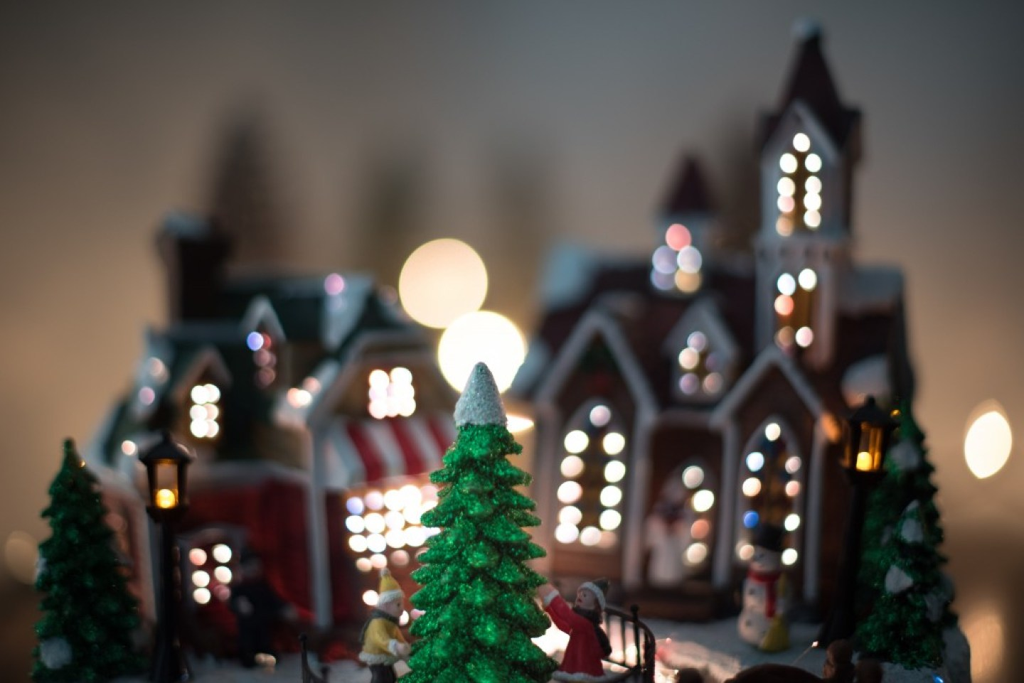 cute Christmas village scene ornament