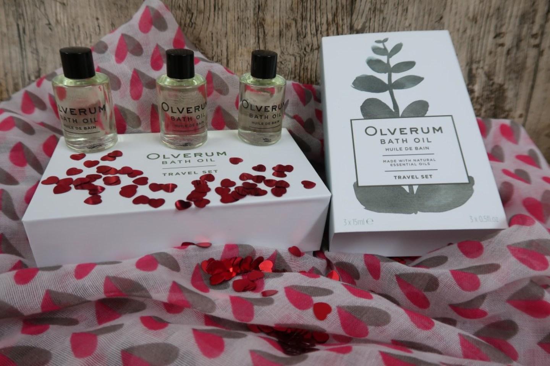 Olverum bath oil on a heart scarf