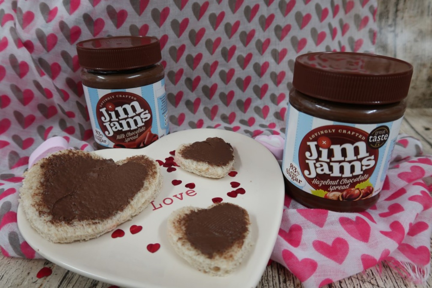 heart shape bread with chocolate spread