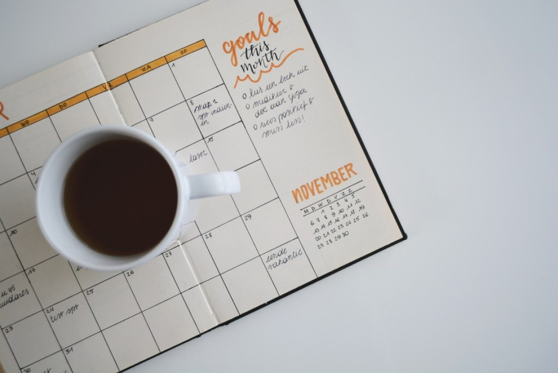 bullet journal pages with a mug of black coffee