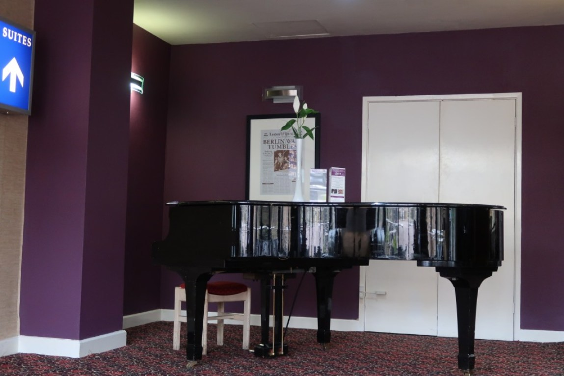 piano in lounge at park hall hotel