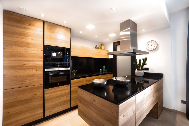 modern dark wood kitchen interior