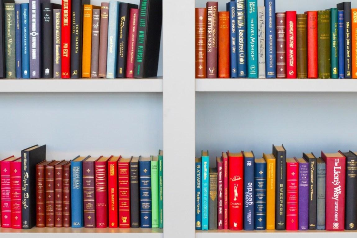 books on a bookshelf colorful