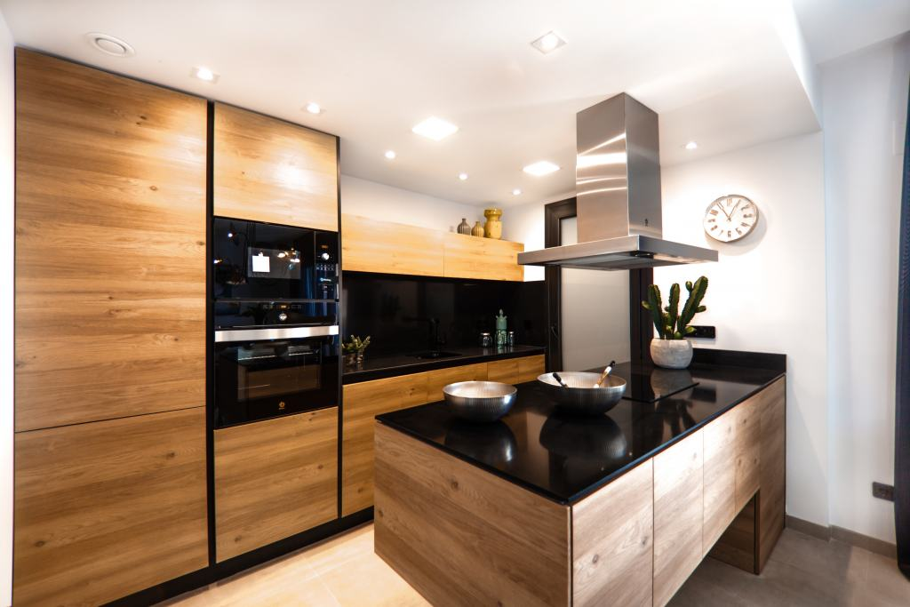 modern kitchen with dark wood features