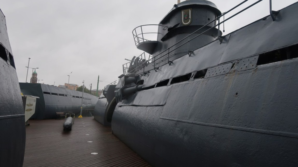 exterior of the recovered german uboat at the uboat story liverpool