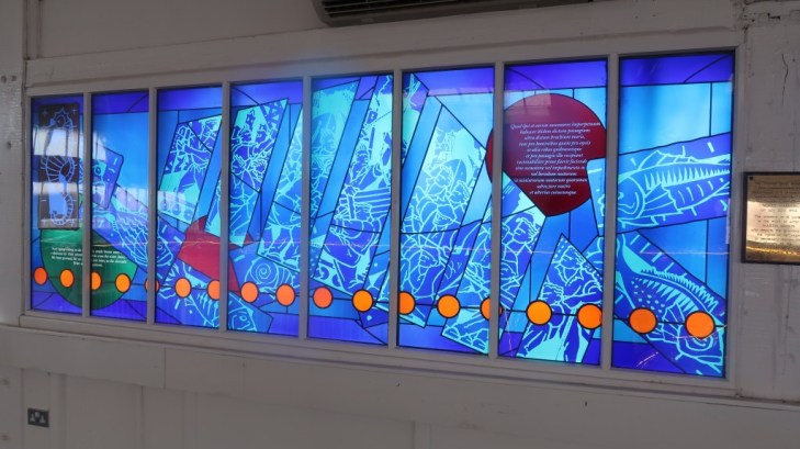stained glass window at cafe across the mersey