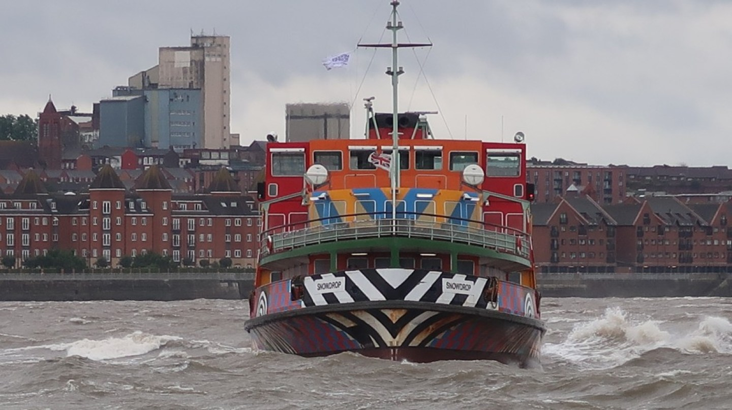 mersey ferry snowdrop making final turn on way in to seacombe ferry terminal