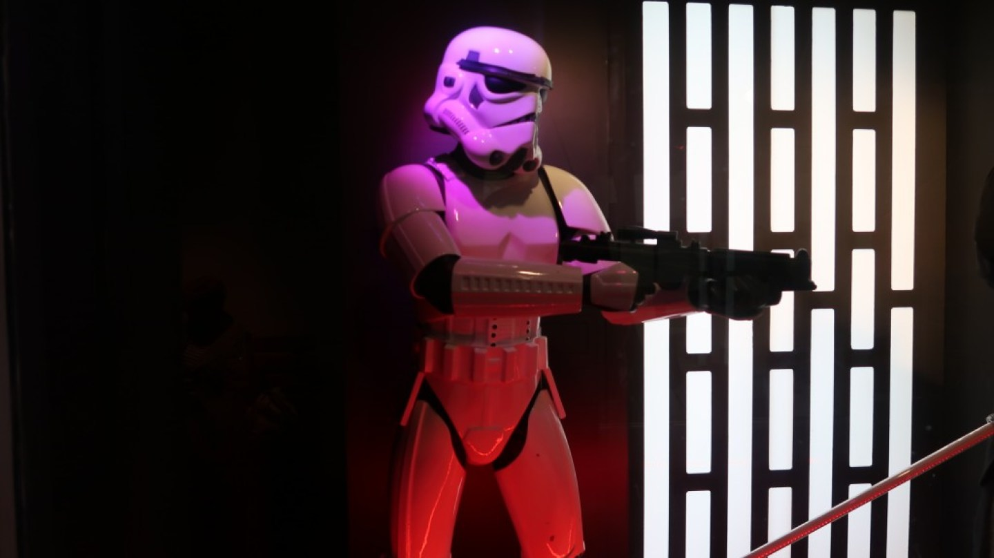 storm trooper costume on display at spaceport starwars exhibition
