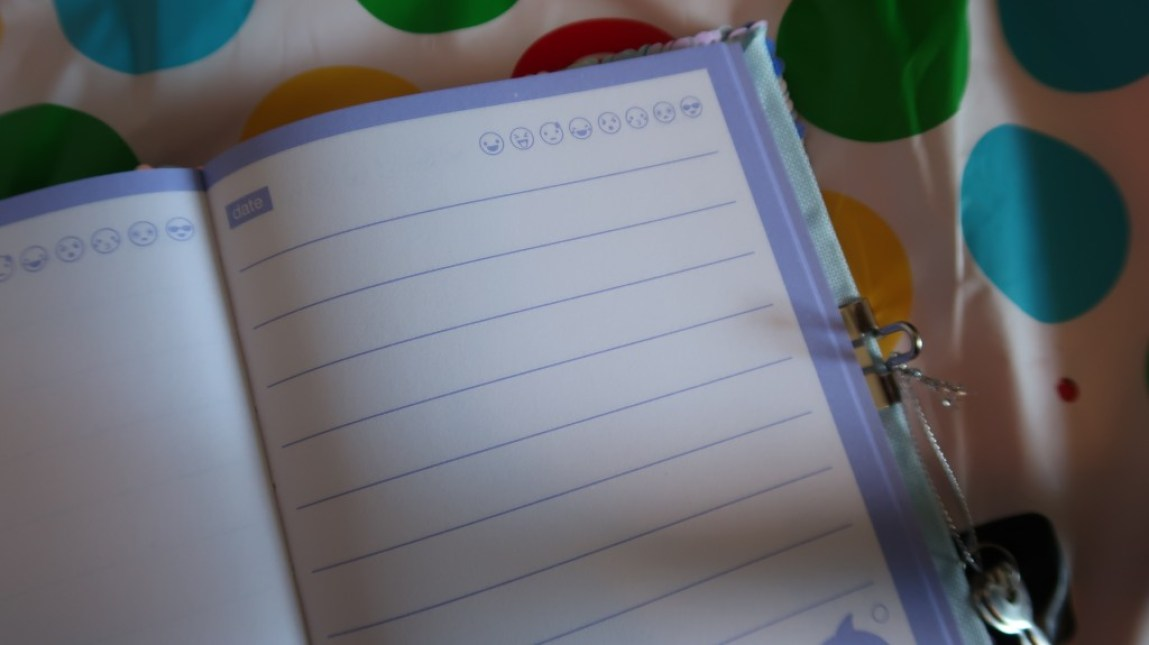 open smiggle diary on spotty tablecloth