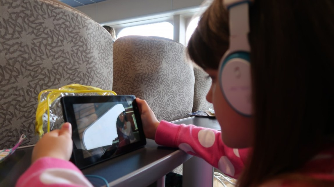 girl watching device ocean club lounge seating The Condor Liberation condor ferries