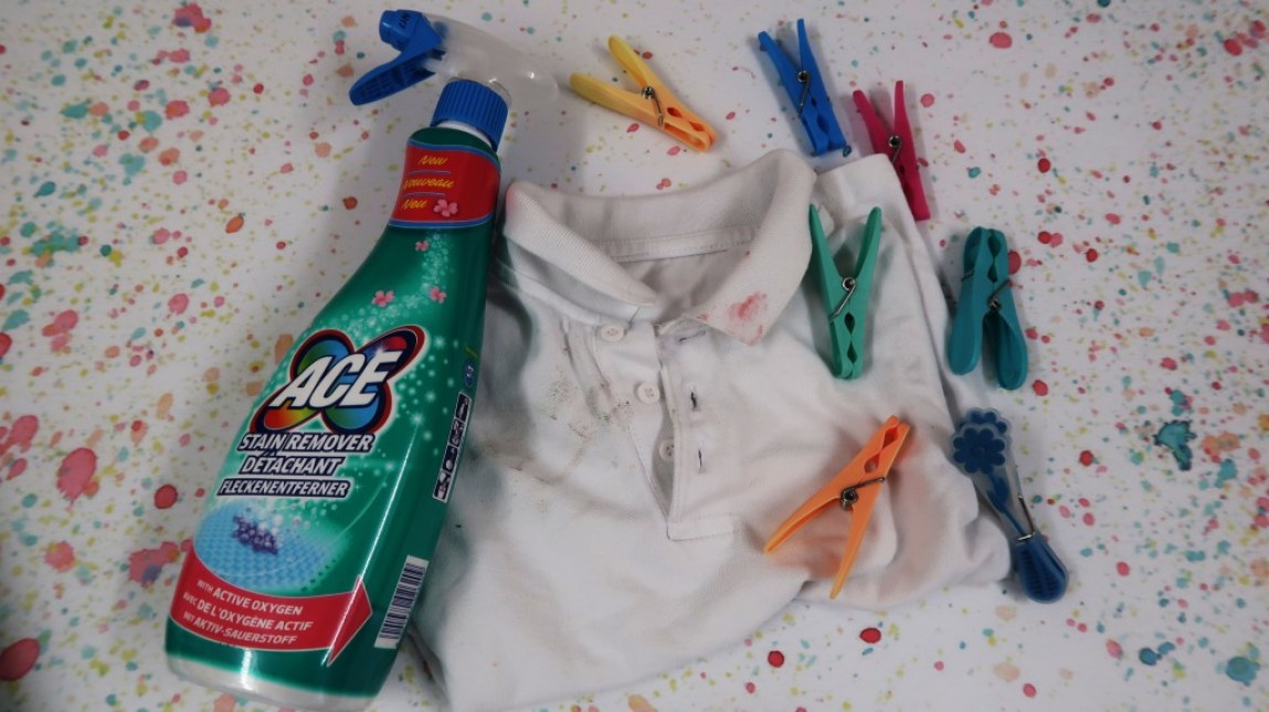 Ace stain remover with stained school shirt