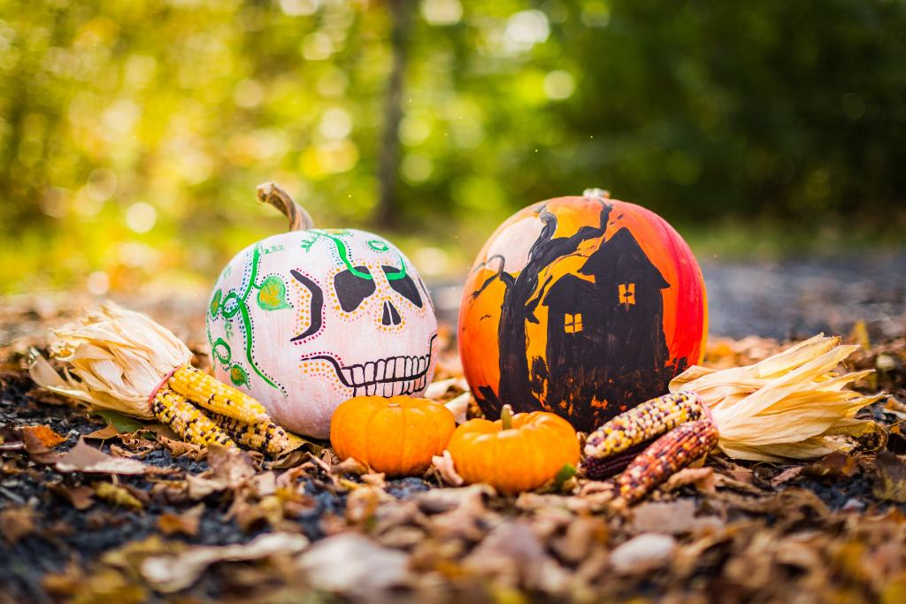 hand painted pumpkins and colorful corn