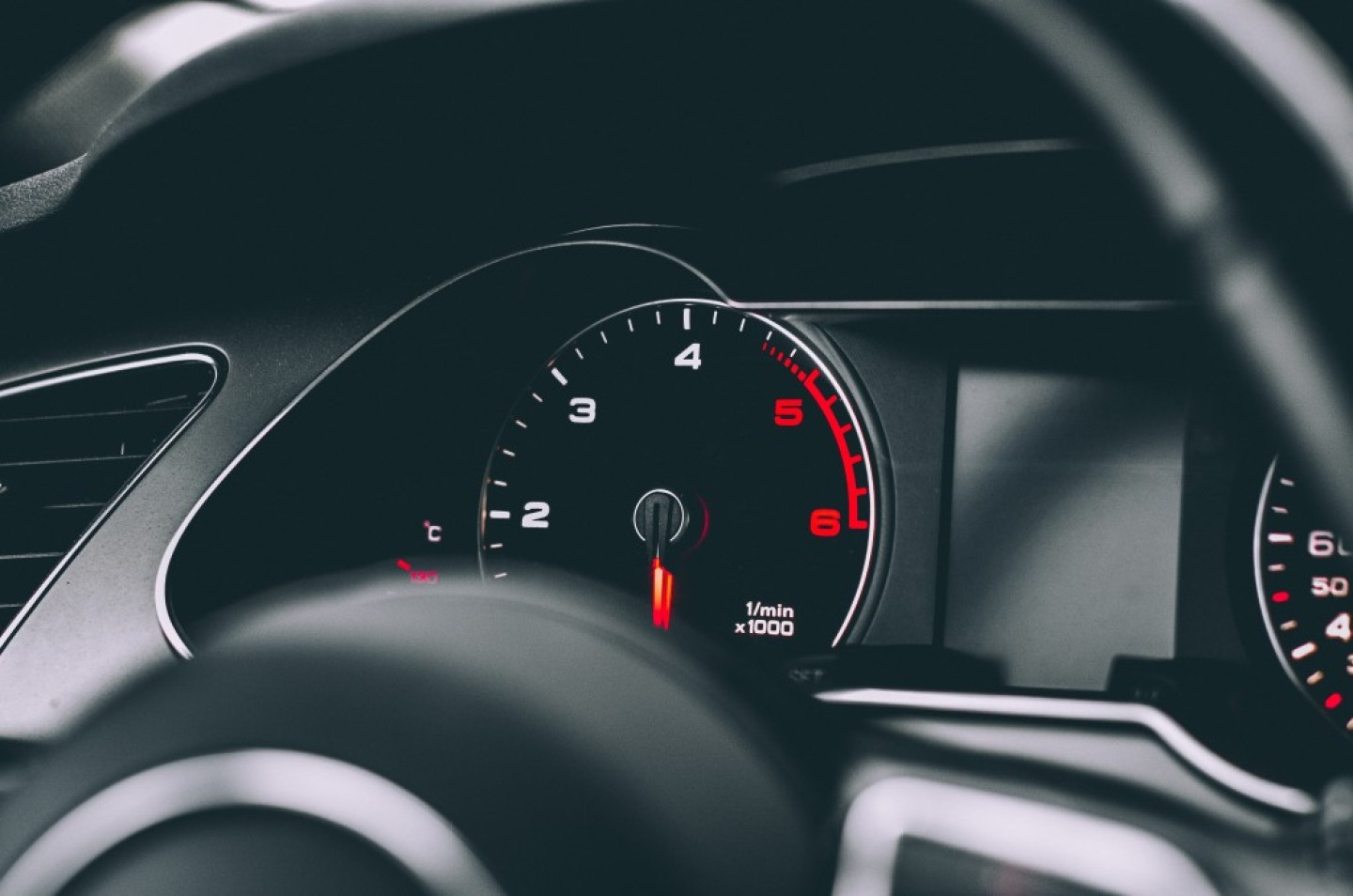 close up of rev counter in a modern car