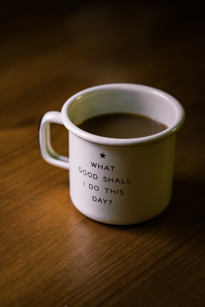 white mug with inspirational quote