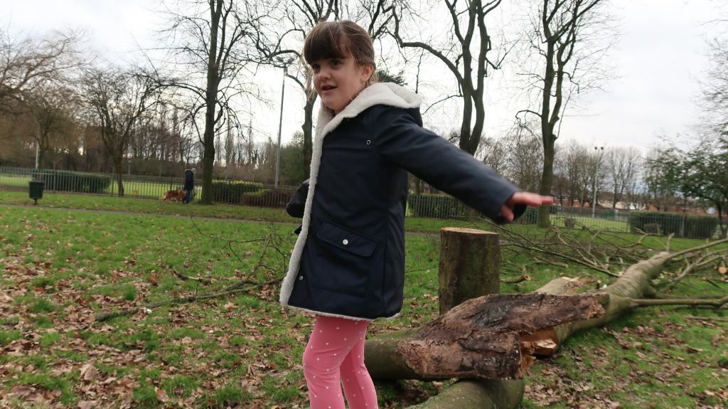 girl in blue coat balancing on fallen tree