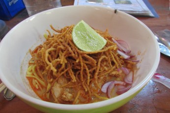 We got lunch in the nearby restaurants and after one false start I took Khow Soi soup. A speciality of Chiang Mai.