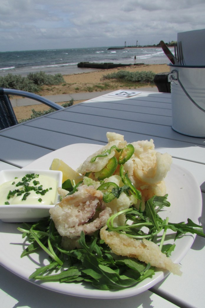 Salt and pepper squid in tempura batter at the renovated bath houses