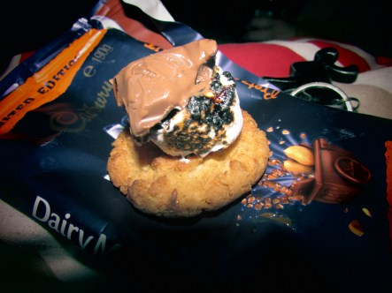 The Australian S'more made with an Anzac Biscuit and a lighter