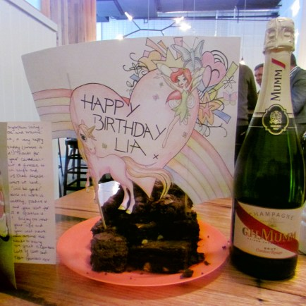 Things that make me happy - rainbows, unicorns, fairies, and brownies with champagne.
