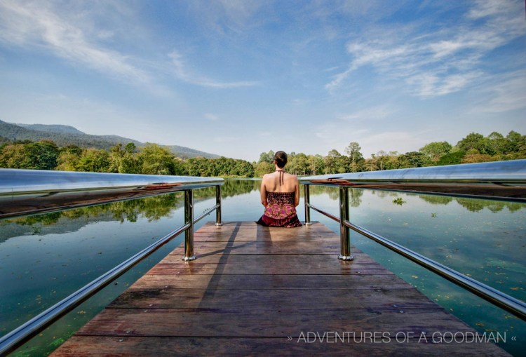 Carrie on a lake dock at Chiang Mai University - Chiang Mai, Thailand