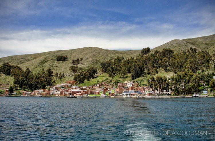 The view of Tiquina and Lake Titicaca from the back of the San Miguel.