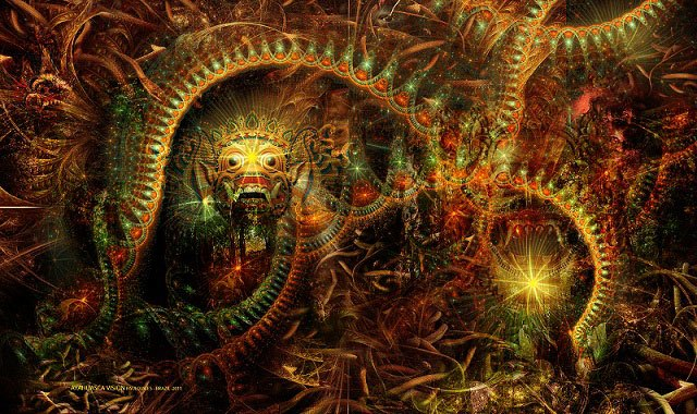 A beautiful artistic rendition of an Ayahuasca vision, by Paulo Jales