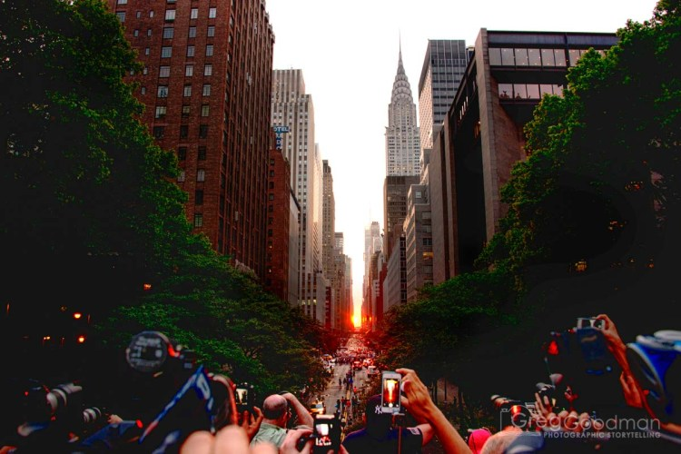 Photographing Manhattanhenge means jockeying for a prime spot with hundreds of other photogs.
