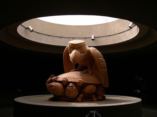A sculpture inside Vancouver's Museum of Anthropology - photo by upyernoz.