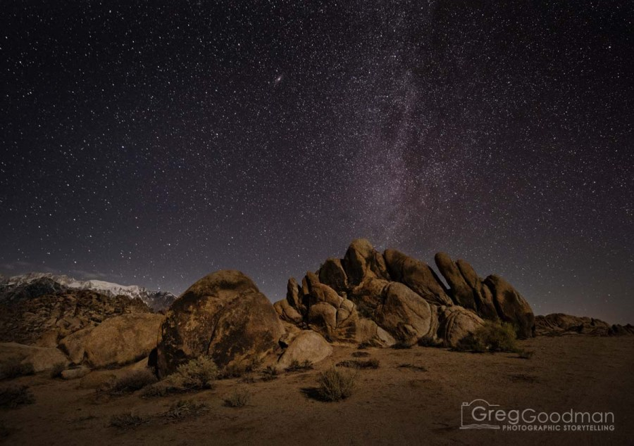 The Milky Way above Alabama Hills and the White Mountains, California