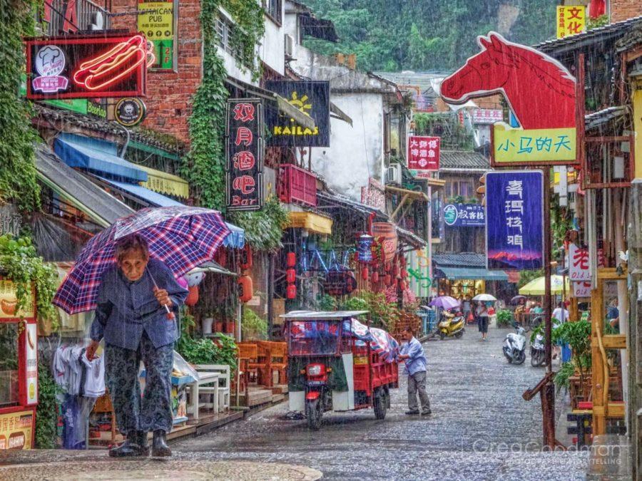 A busy touristic street in Yangshou