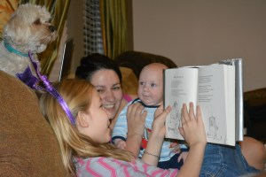 Caris reading to the whole family ❤