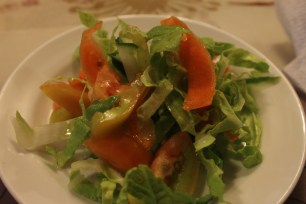 Cabbage with tomatoes and cucumber with light sesame based vinaigrette