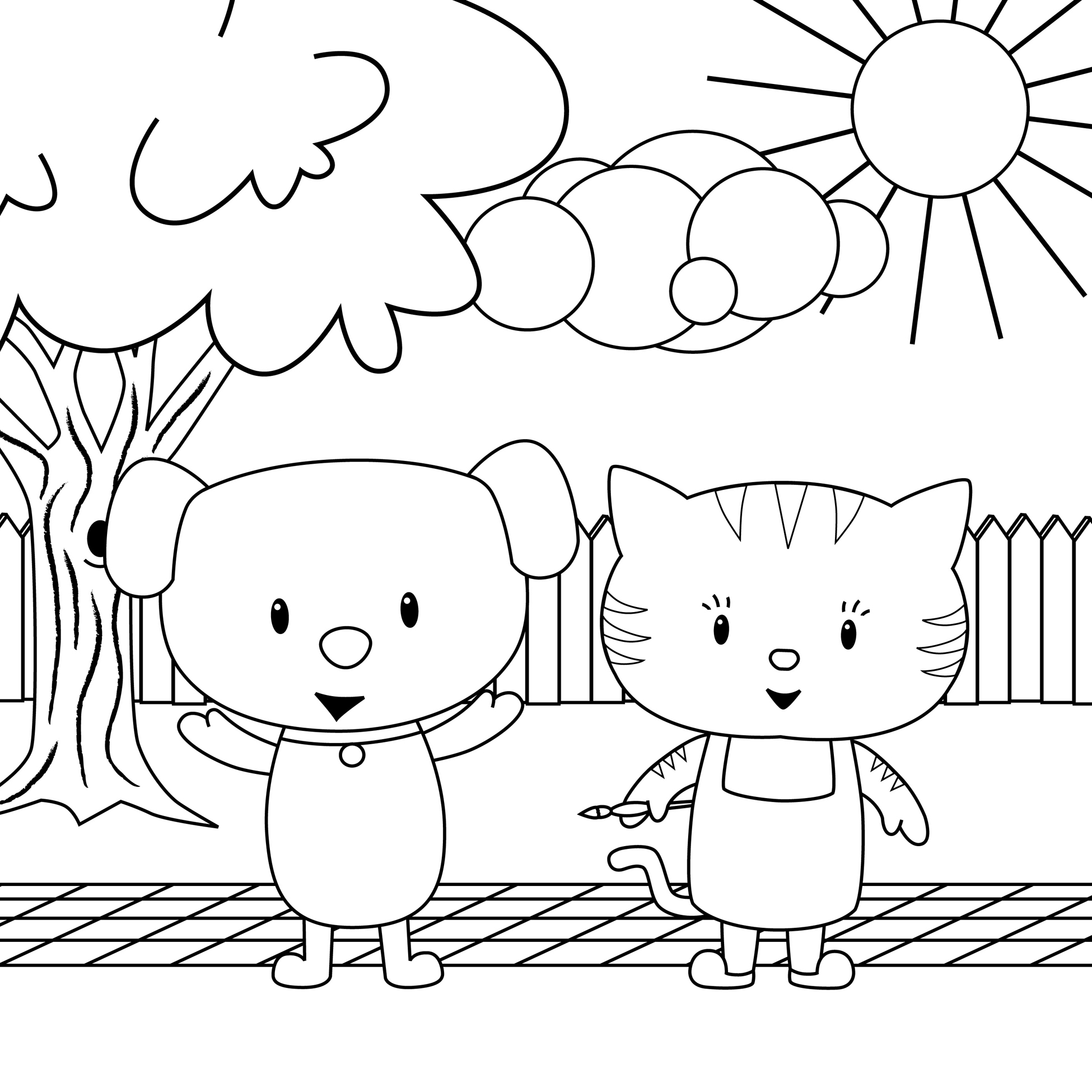 Cat And Dog Pictures To Colour
