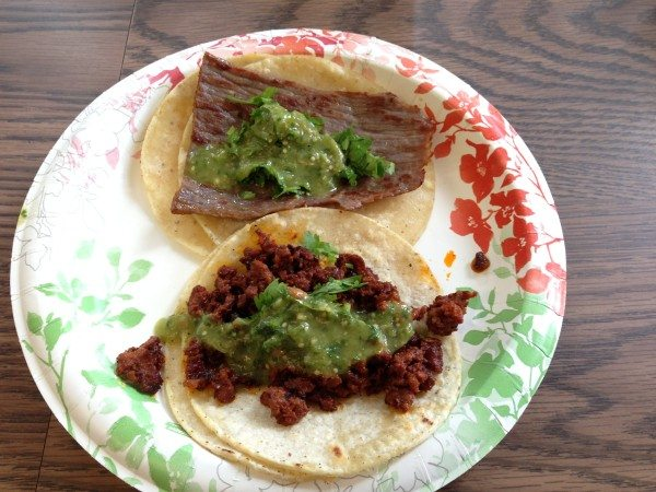 two beef tacos with tomatillo sauce