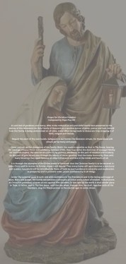 This image is of the Holy Family with the prayer for Christian Families over the image.