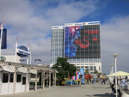 The marina behind the convention center + The Strain hotel ad.
