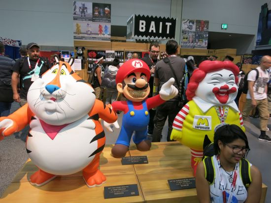 Terrifying statues of friendly characters.