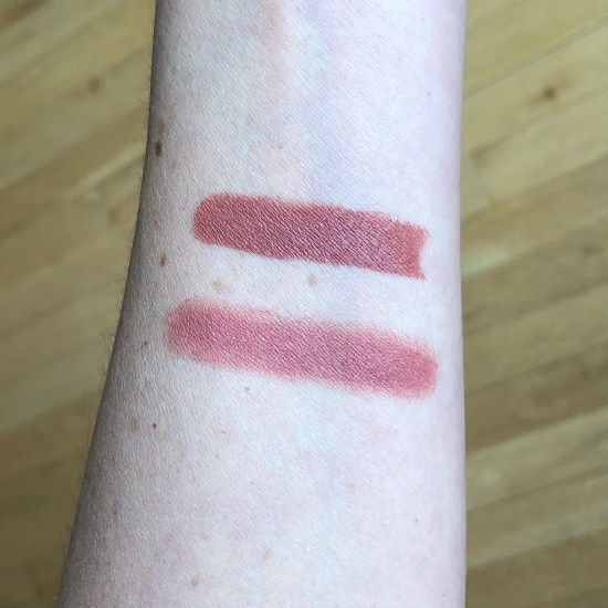 ColourPop Lay Over and Charlotte Tilbury Pillow Talk swatch comparison
