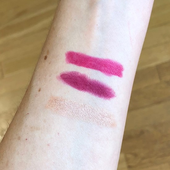 Swatches of NARS Velvet Matte Lip Pencil in Let's Go Crazy, Sephora Collection Rouge Matte Lipstick in Rebel Chic, Laura Mercier Caviar Stick Eye Color in Rose Gold | Play! by Sephora
