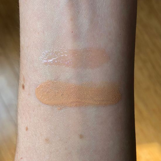 Swatches of Buxom Lip Polish in Celeste and MUFA Ultra HD Perfector in Shade #6