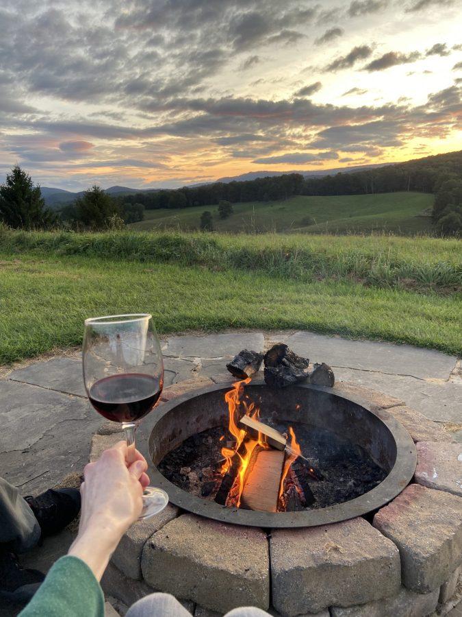 Wine, fire pit, sunset