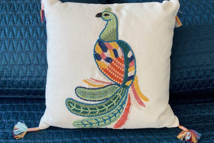 Jungalow Beaded Bird Pillow