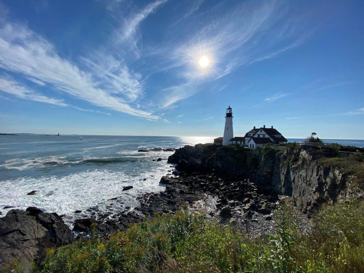 Portland Head Light, cliffs, and bay