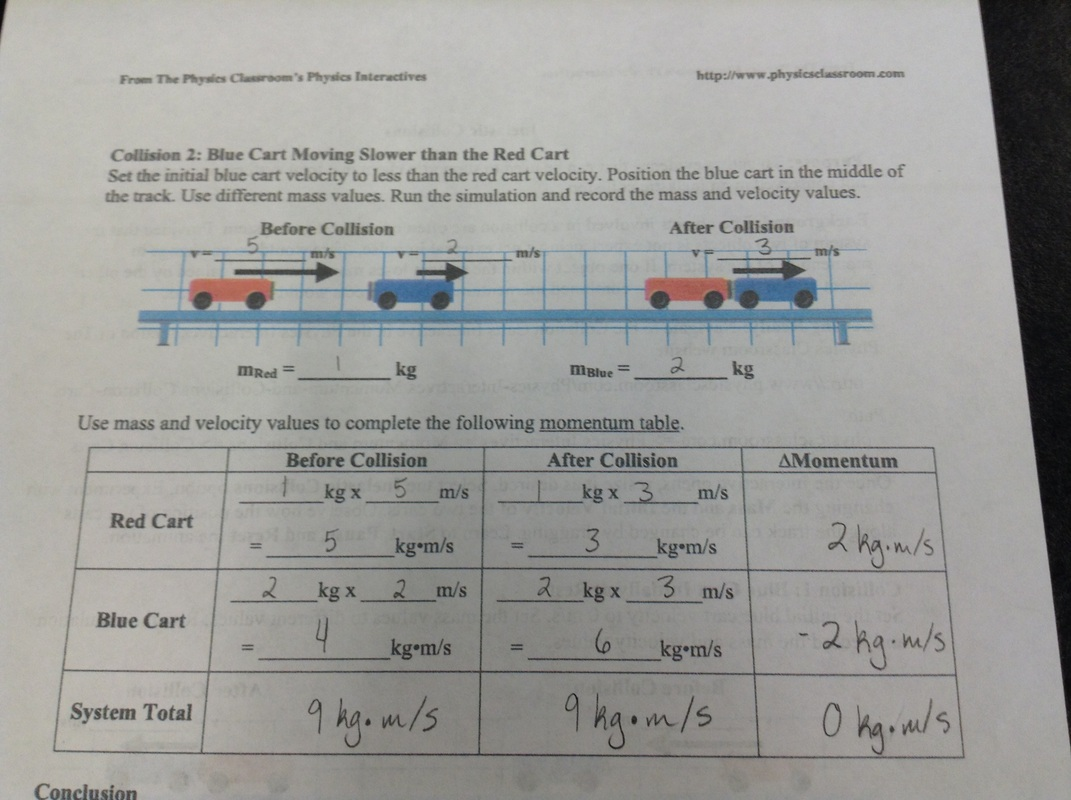 Inelastic Collision Worksheet