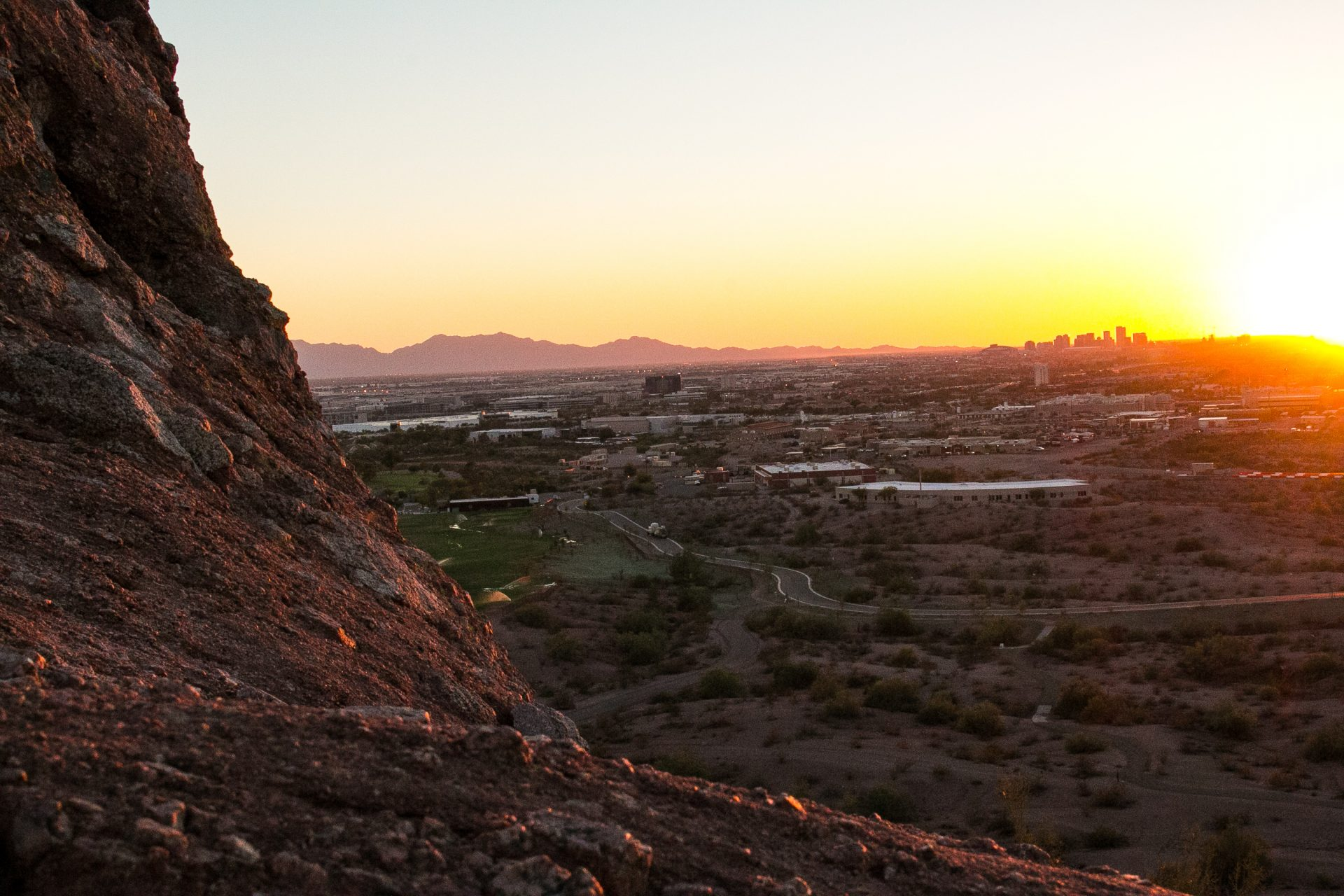 downtown Phoenix from Papago park during sunset